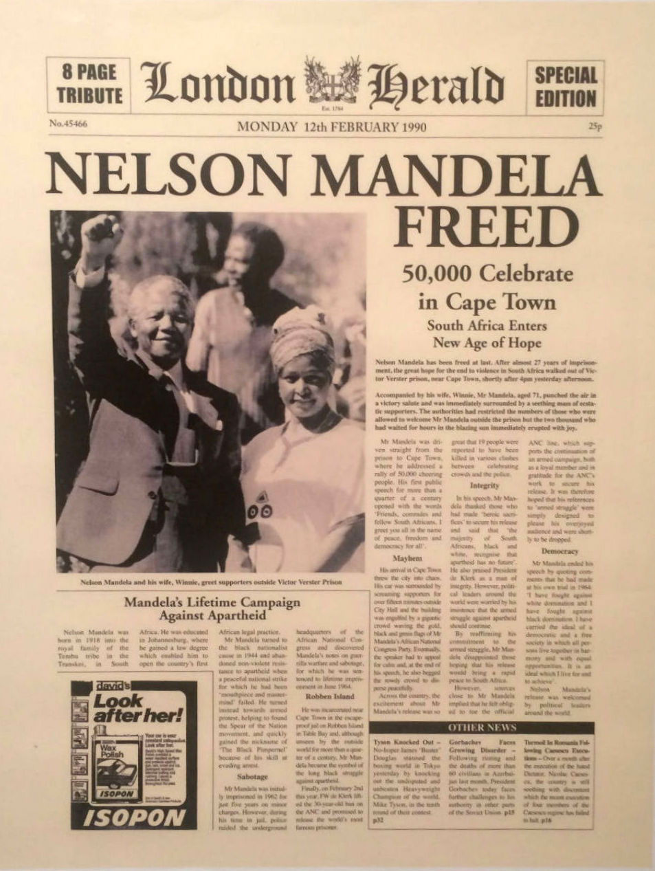 Nelson Mandela Freed From Prison After 27 Years In Captivity February 11th 1990 London Herald Front Page