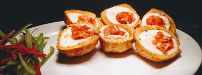 Scotch Eggs filled with onions and tomatoes for scotch eggs recipe