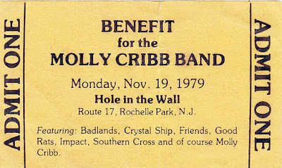 Ticket stub for the Molly Cribb Band benefit show at The Hole In The Wall rock club in 1979 to help the band replace all of their equipment that was destroyed. Pretty cool right!