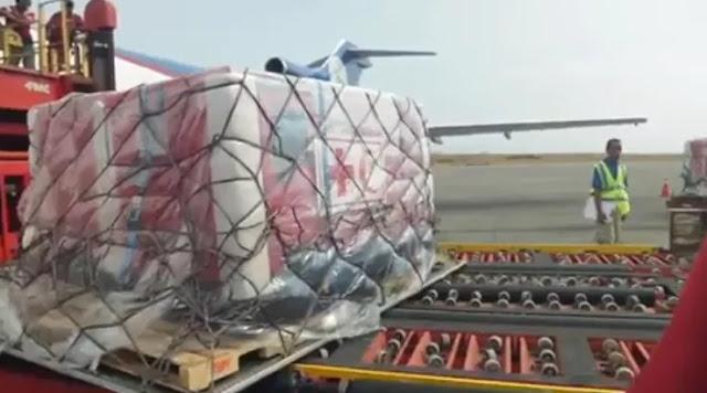 Primer envío de ayuda de la Cruz Roja trae medicinas y plantas eléctricas para dotar a hospitales