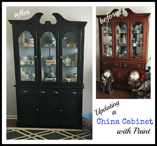 Vintage Paint and more... updating a dated china cabinet using black chalkboard paint and adding new hardware