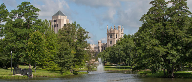 Northern Illinois University Campus pond and castle, Metamora Herald