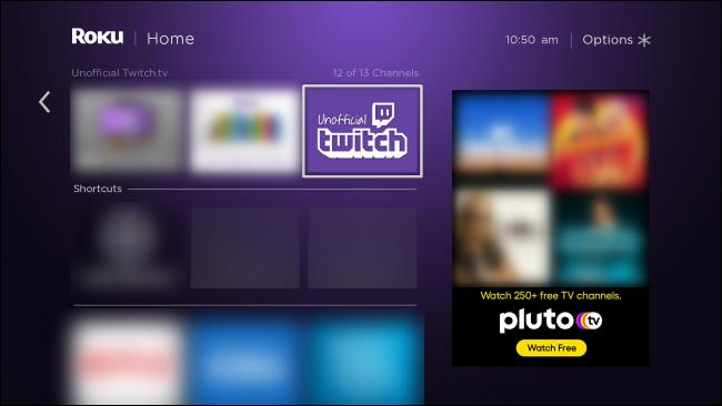 تطبيق Roku غير الرسمي Twitch