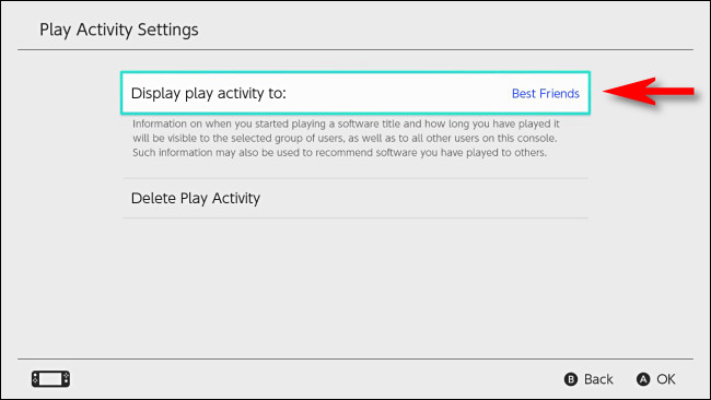 """في تبديل إعدادات المستخدم ، اضبط """"عرض نشاط التشغيل على"""" على """"أفضل الأصدقاء""""."""