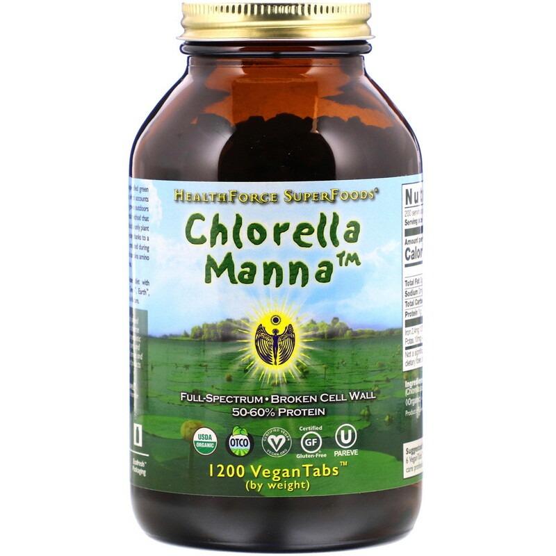 HealthForce Superfoods, Хлорелла манна, 1200 растительных таблеток