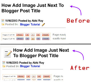 How Add Image Just Next To Blogger Post Title