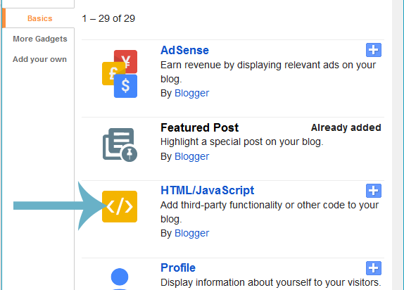 html javascript widget blogger