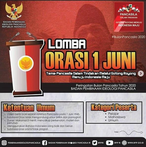 [GRATIS] Lomba Orasi Nasional 2020 Badan Pembinaan Ideologi Pancasila
