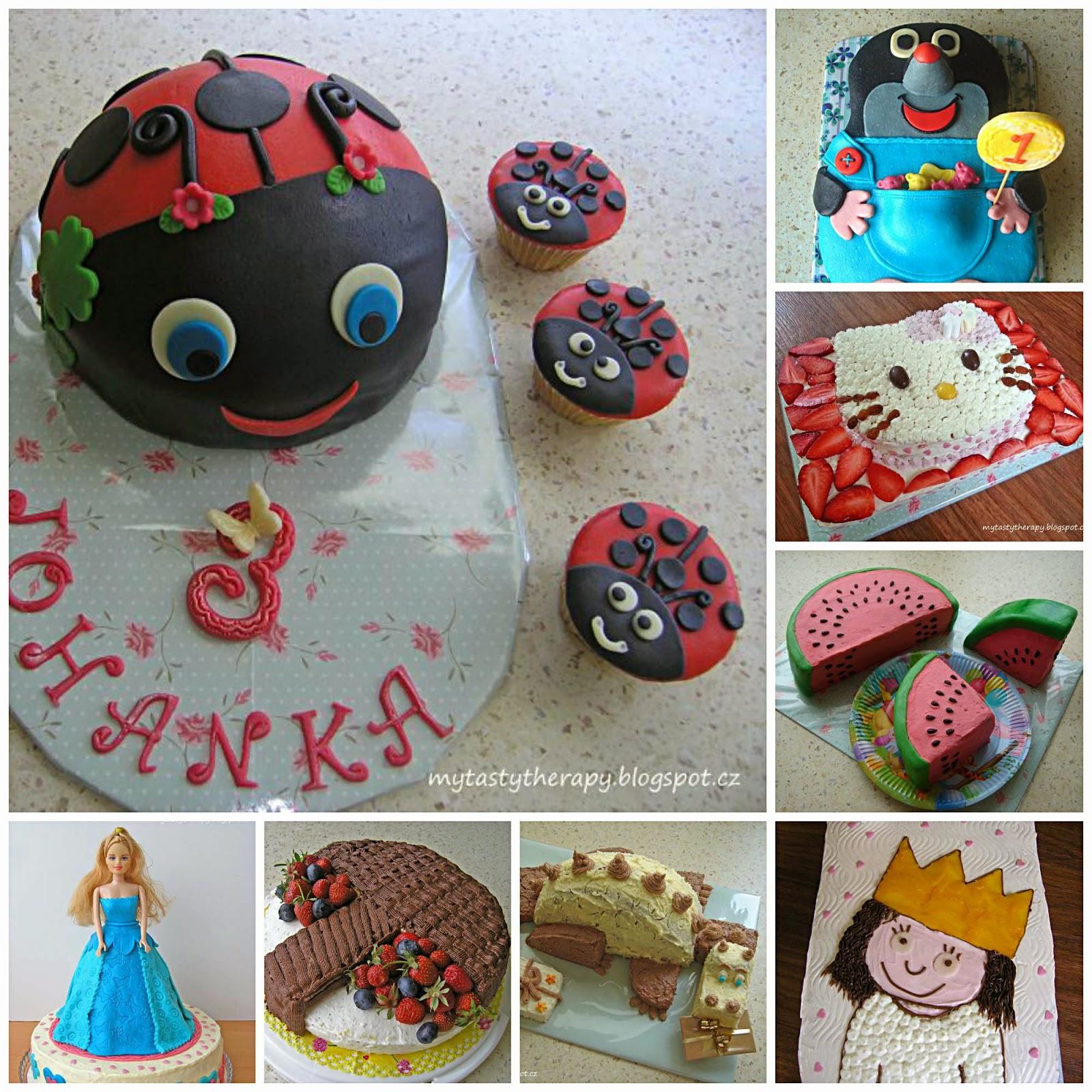koláž s obrázky dortů na blogu tasty therapy