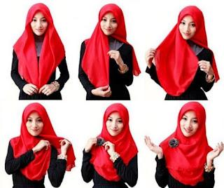Cara memakai hijab segi empat simpel sederhana