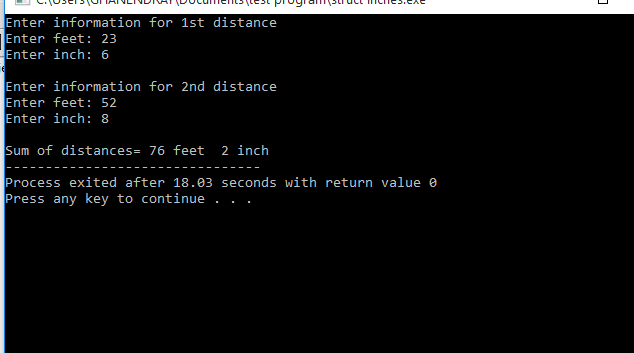 C++ Program To Add Two Distances (in inch-feet) Using Structures