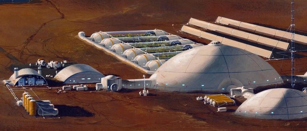 Mars base by Manchu (Philippe Bouchet)