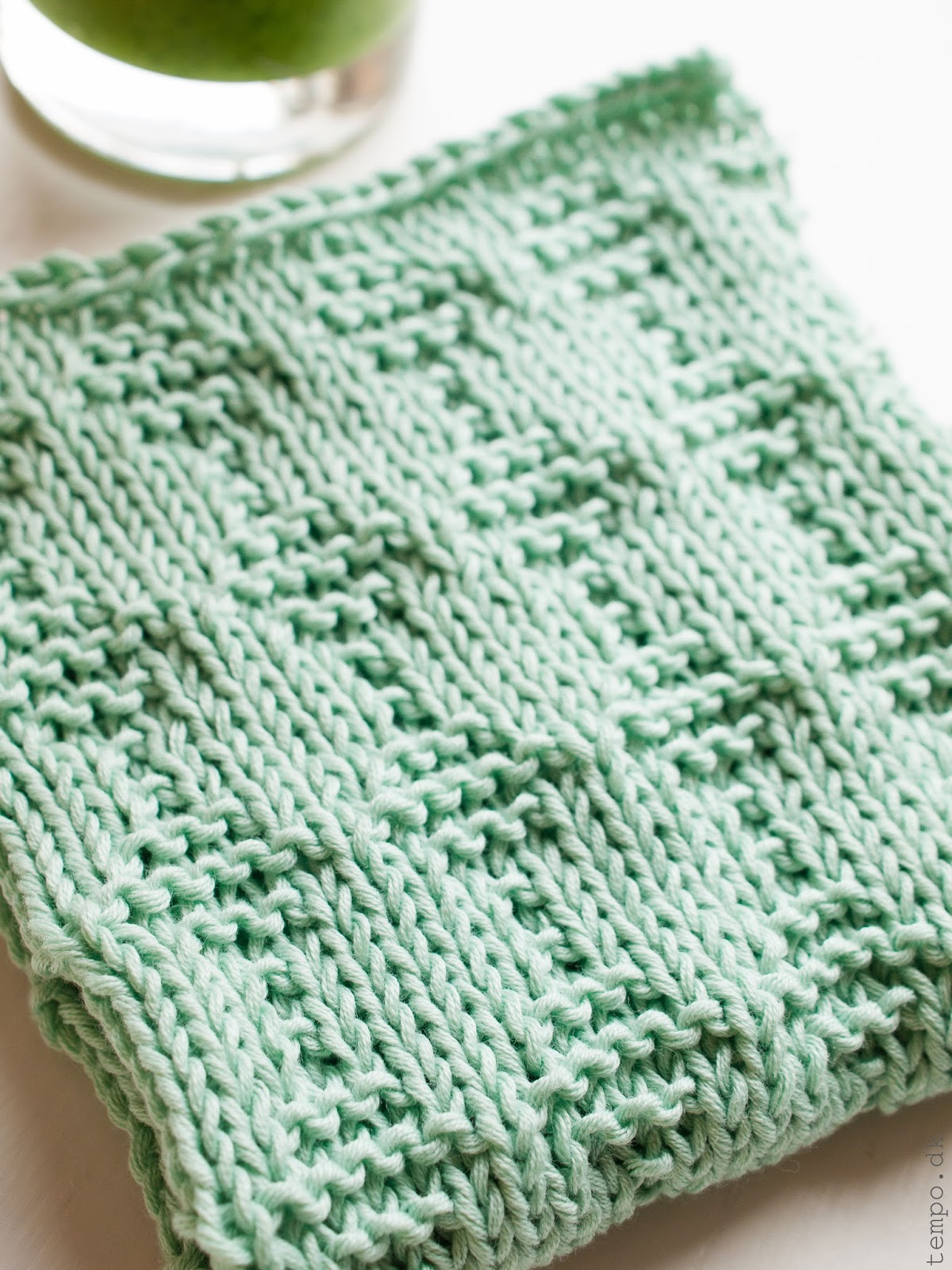 Mintgrøn karklud med firkantmønster