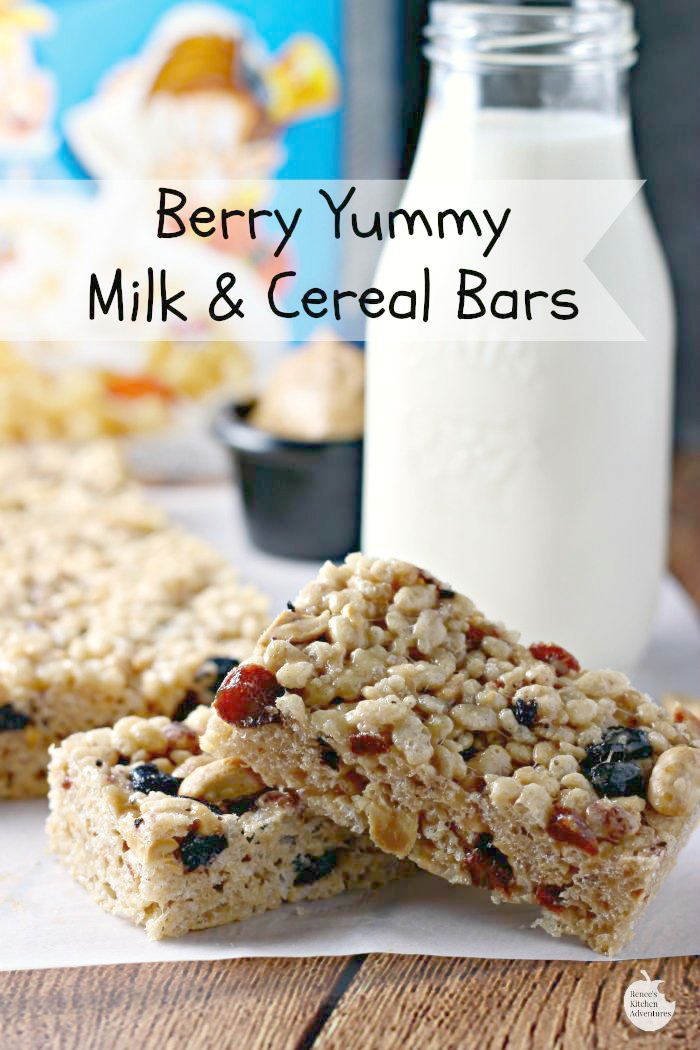 Berry Yummy Cereal Bars | by Renee's Kitchen Adventures - Easy recipe for a wholesome on-the-go breakfast or snack. You can make your own milk and cereal bars right at home! #FueledForSchool ad