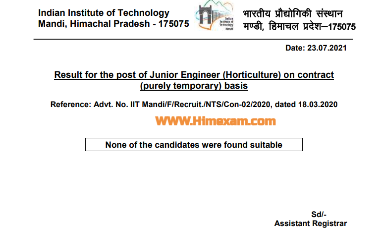 IIT Mandi Junior Engineer (Horticulture) Result 2021