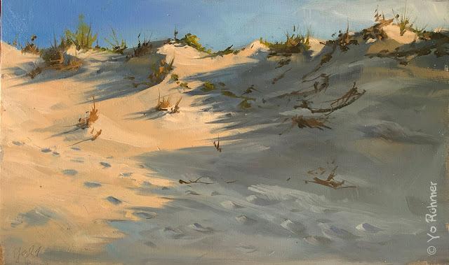 Düne gemalt Ölbild en pleinair