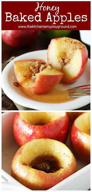 Simple Honey-Baked Apples ~ Filled with honey & cinnamon, they're a perfect fall comfort-food dessert. Just 4 ingredients & less than 10 minutes prep, these bake apples couldn't be any simpler to make!  www.thekitchenismyplayground.com