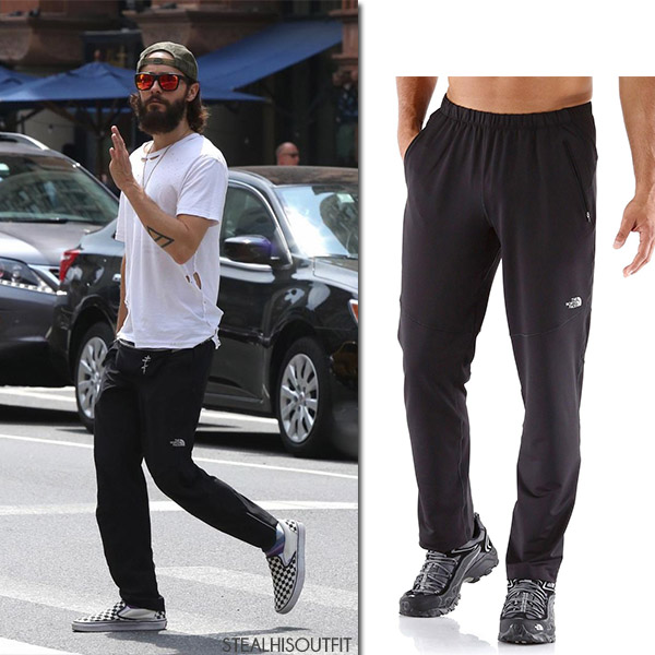 Jared Leto in white t-shirt and black sweatpants the north face streetstyle mens fashion july 2017