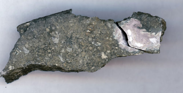 This close-up picture shows a ceramic-like refractory inclusion (pink inclusion) still embedded into the meteorite in which it was found. Refractory inclusions are the oldest-known rocks in the solar system (4.5 billion years old). Analysis of the uranium isotope ratios of such inclusions demonstrates that a long-lived isotope of the radioactive element curium was present in the solar system when this inclusion was formed.  Courtesy of Origins Lab at the University of Chicago