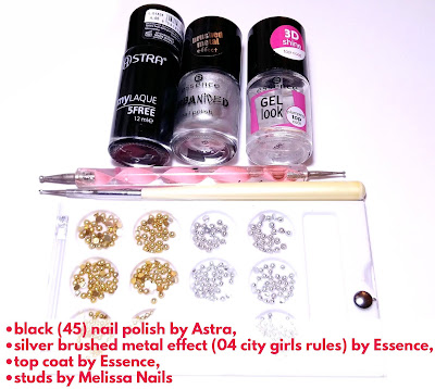 Products used for Drag Marble Floral Nail Art: Black and Silver Design Tutorial
