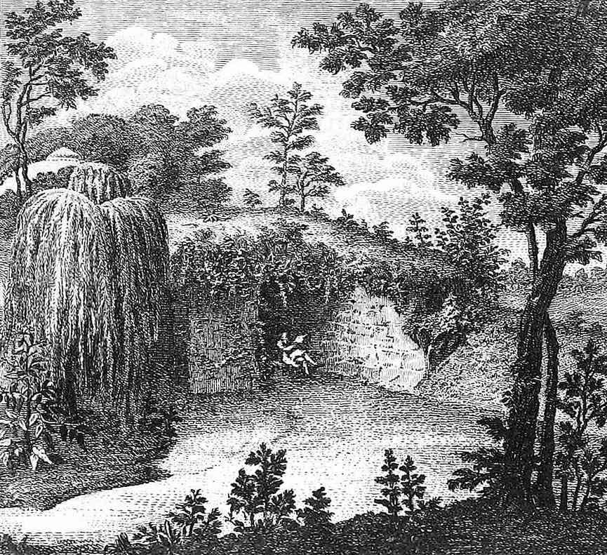 an illustration of an 1800 garden cave