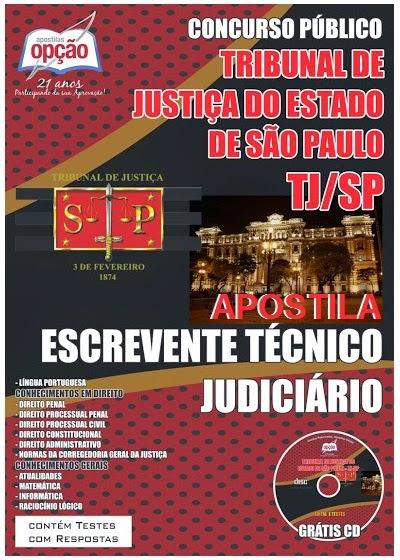 Apostila Tribunal de Justiça/TJSP - Escrevente concurso público – escrevente técnico judiciário – 1ª Região Administrativa Judiciária) 2014