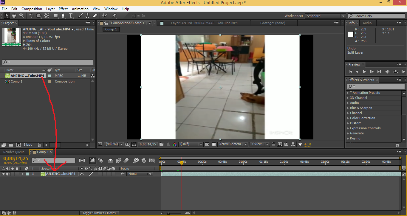 cara memotong video pada adobe after effect