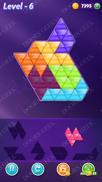 Block! Triangle Puzzle Intermediate Level 6 Solution, Cheats, Walkthrough for Android, iPhone, iPad and iPod