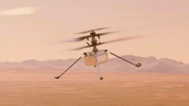 The ingenuity of the NASA helicopter prepares for its first flight on Mars