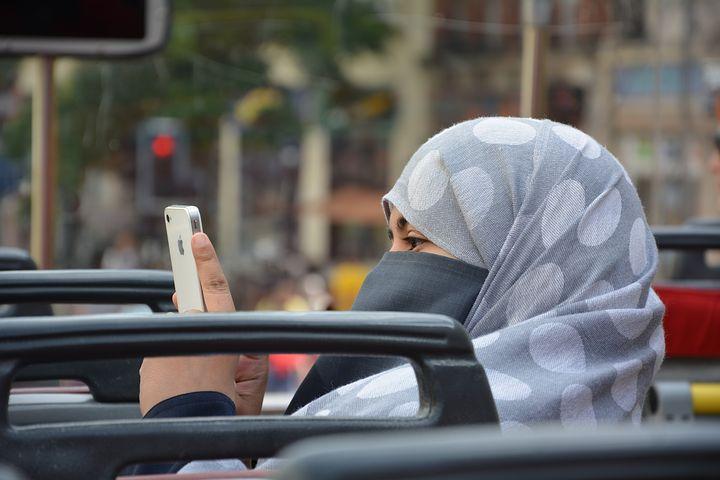 Woman snooping