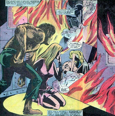 Werewolf by Night #20, the death of Baron Thunder, by fire
