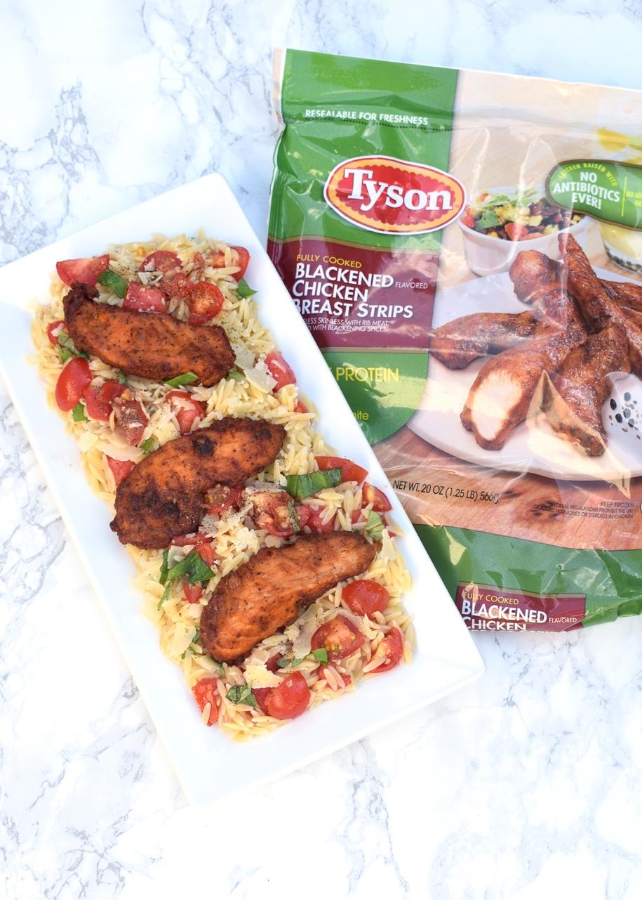 platter of bruschetta chicken orzo salad