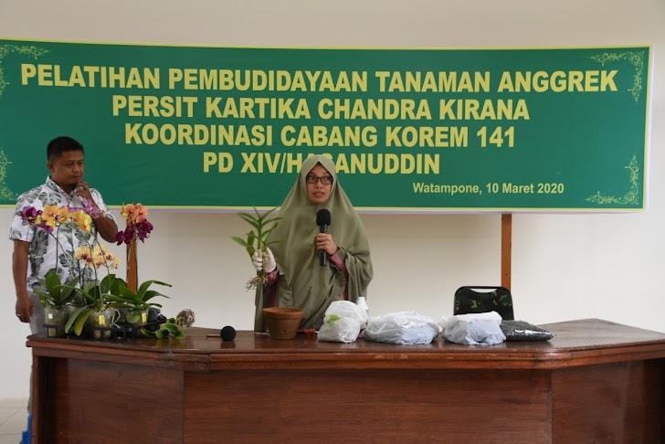 Persit Kartika Candra Kirana Koordinasi Cabang Korem 141 PD XIV/Hasanuddin, Lakukan Pelatihan Budidaya Tanaman Anggrek