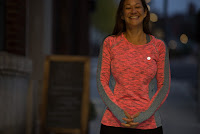 IllumiNITE Long Sleeve Reflective Women's Piper Tee in Coral Glo/White