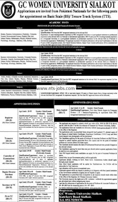 GC Women University Sialkot Jobs 2019 for Teaching & Administrative Staff Vacancies Advertisement Latest