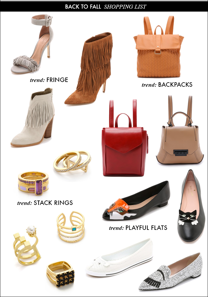 back to school, fall trends, cat flats, kate spade new york, backpacks, stack rings