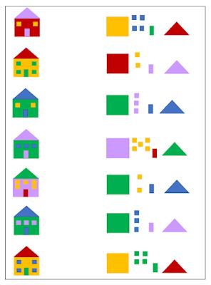 na zdjęciu karta pracy, po lewej stronie widać domki w różnych kolorach i z różną ilością okien a po prawej stronie pogrupowane elementy z których powstały domki