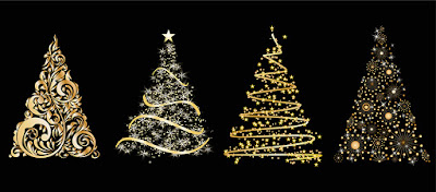 Gold abstract drawings of Christmas trees on a black background.