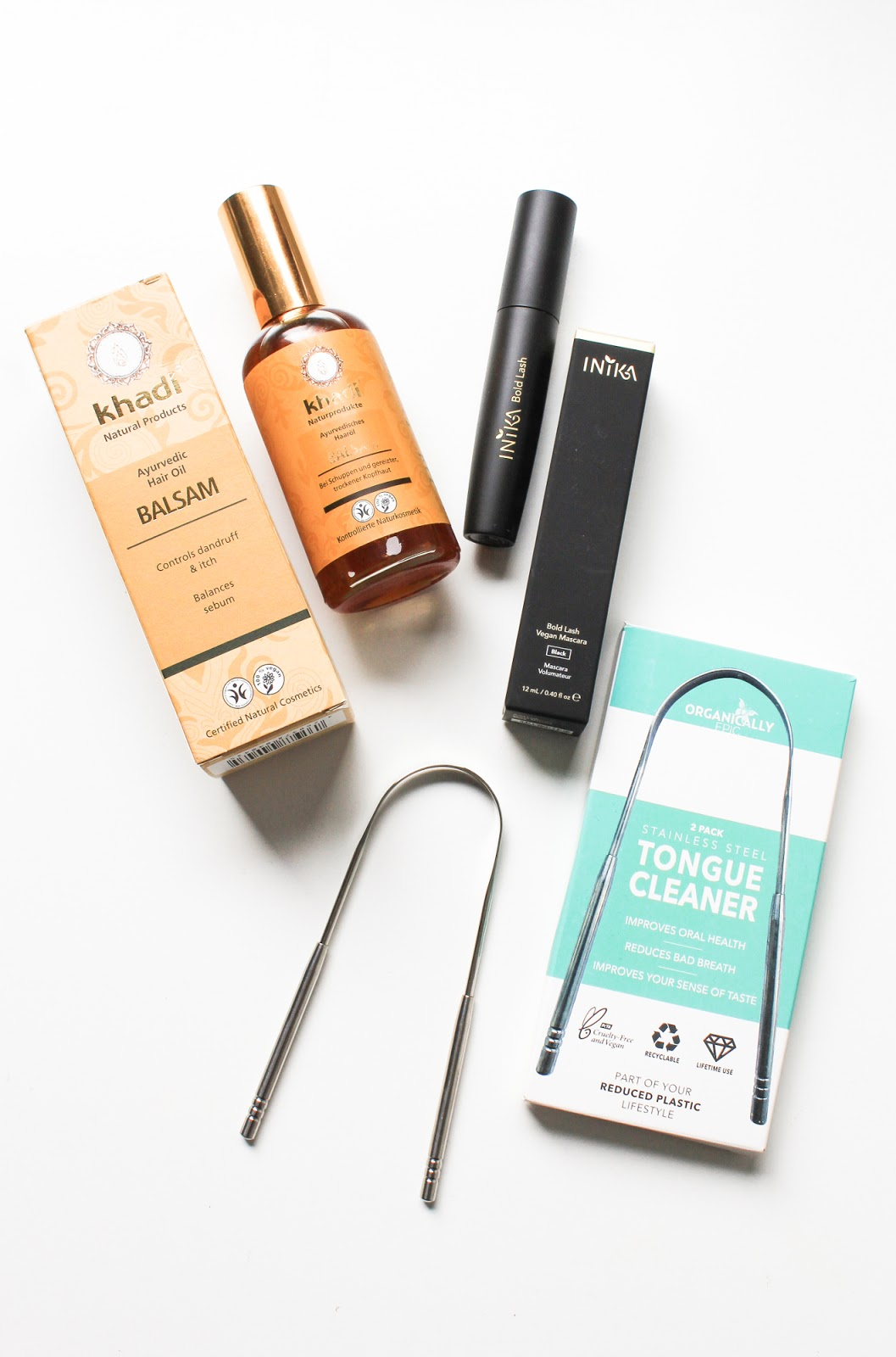 Khadi Balsam Hair Oil, Inika Bold Lash Mascara, Organically Epic Tongue Cleaner. LoveLula