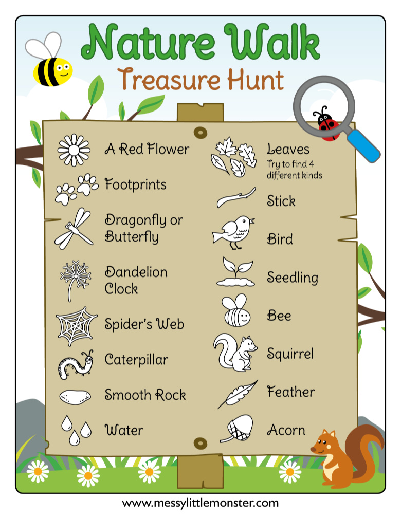 Printable nature walk scavenger hunt