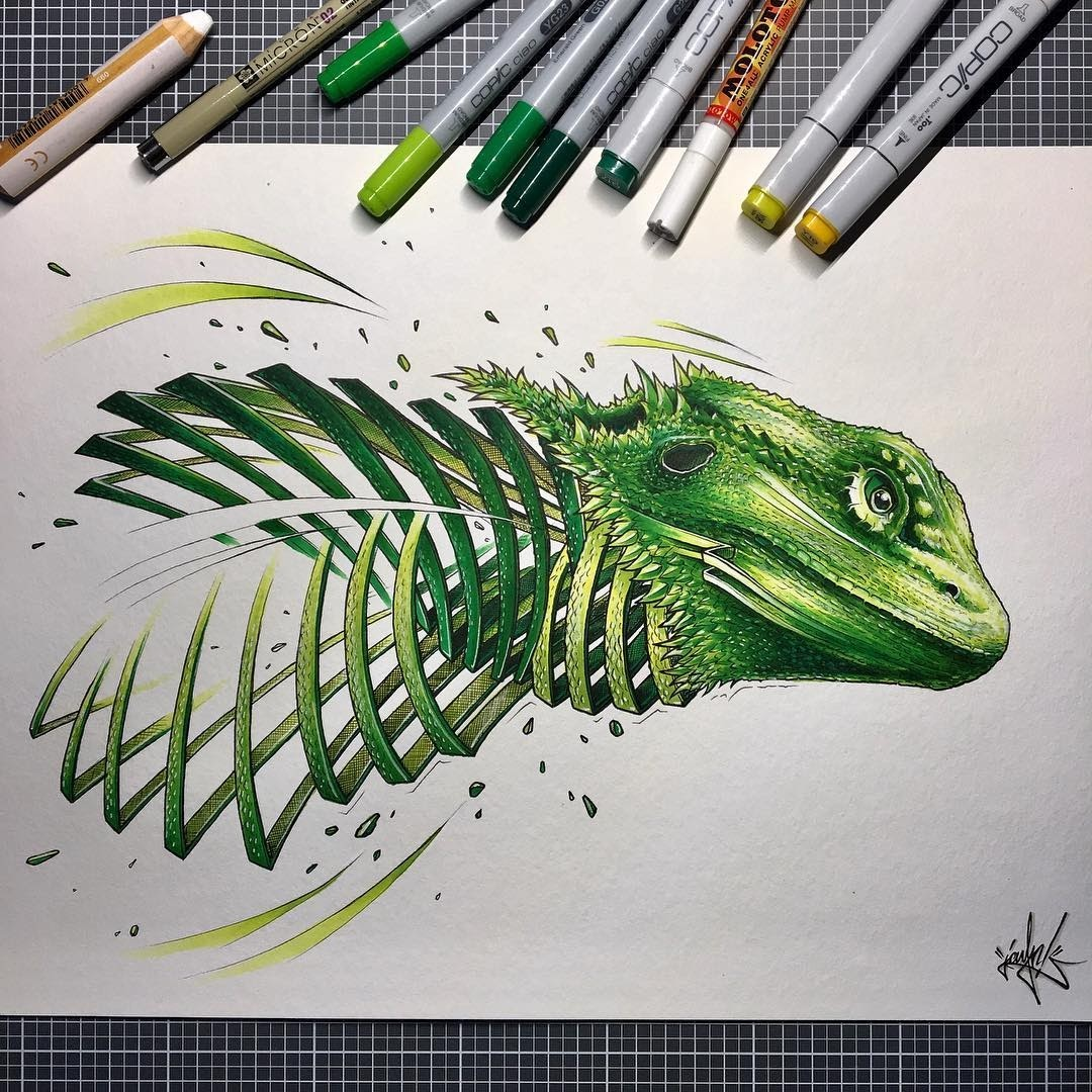 04-Bearded-Dragon-Lizard-JAYN-ABS-Crew-Slice-Animal-Portraits-Stylised-Looks-www-designstack-co