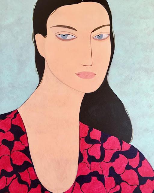 Kelly Beeman arte | dibujo en acuarela de mujer linda en vestido casual