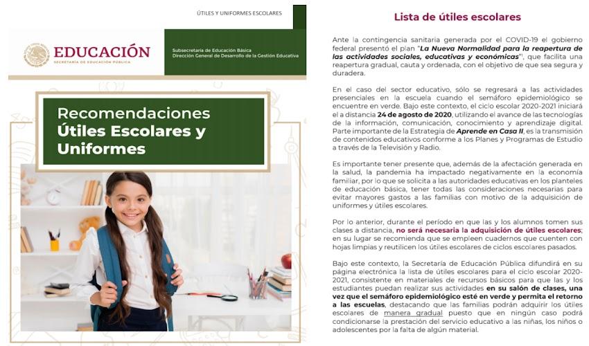 Recomendaciones de útiles escolares y uniformes