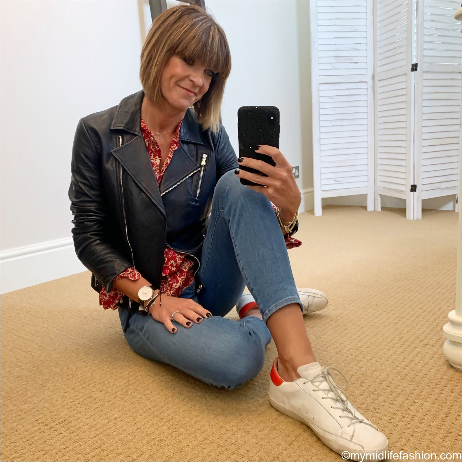 my midlife fashion, Massimo Dutti leather biker jacket, Isabel Marant Etoile blouse, j crew toothpick jeans, golden goose superstar low top trainers