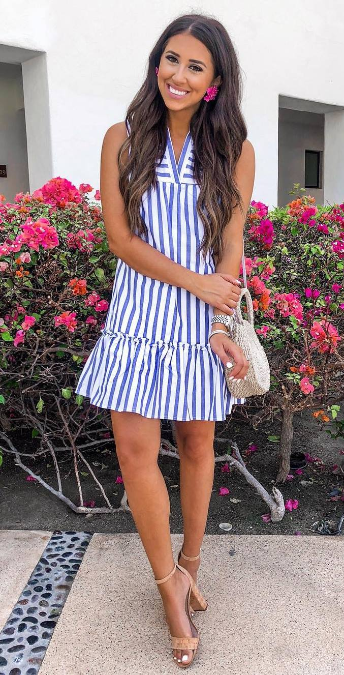 outfit of the day   striped dress + round bag + nude heels