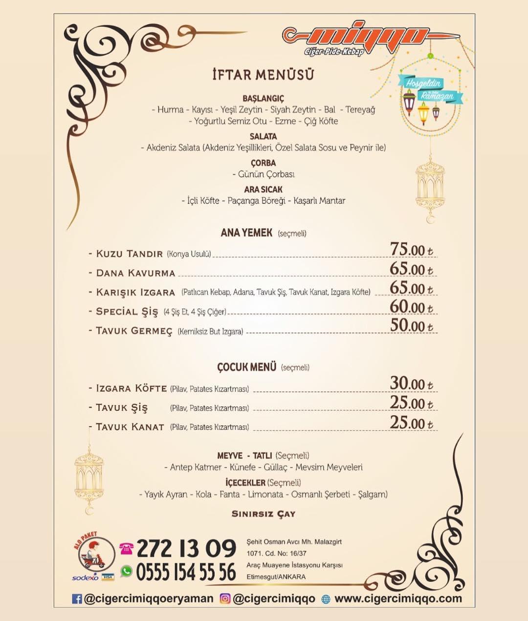 eryaman iftar menüleri ankara eryaman iftar menü fiyatları etimesgut iftar mekanları