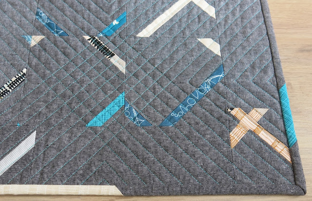 Quilted table runner - Essex Linen - Crosscut tutorial by Debbie at A Quilter's Table