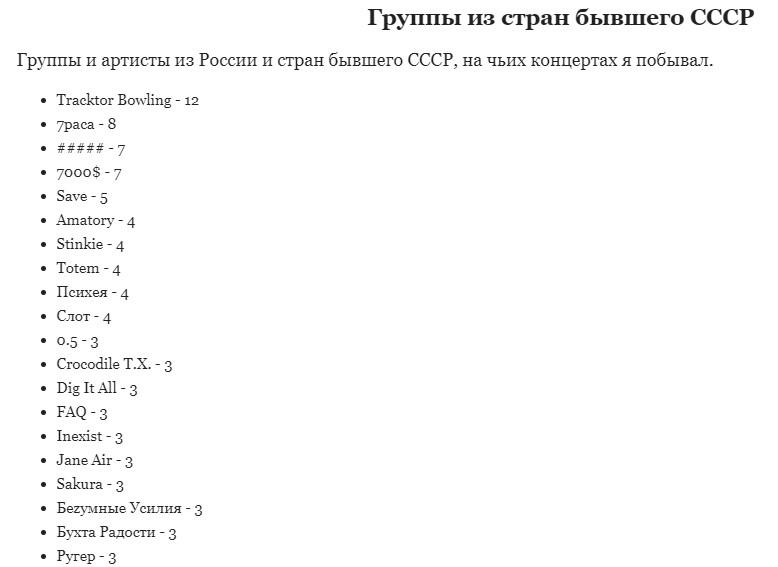 Группы из стран бывшего СССР