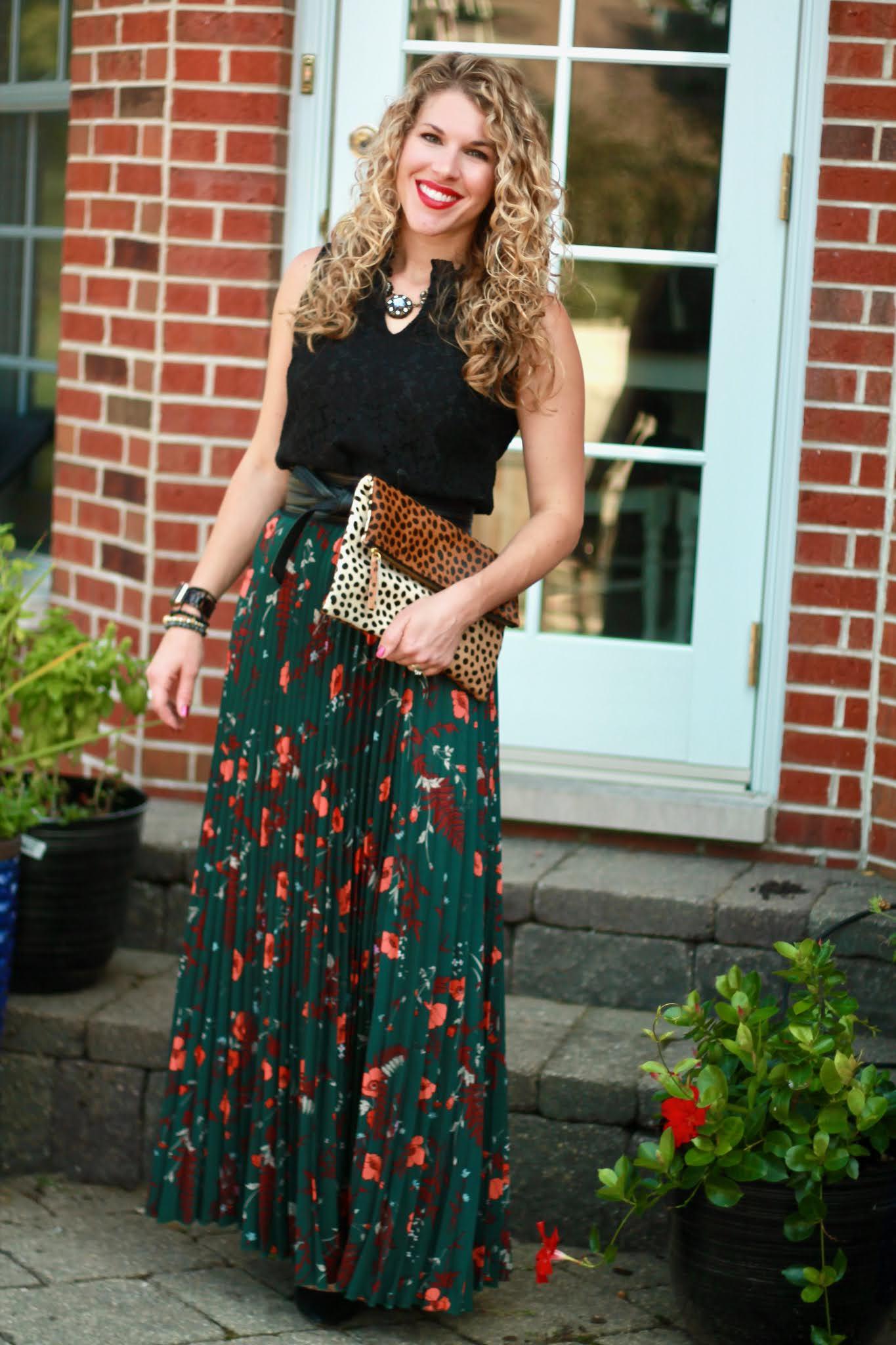 Fall Wedding Guest Outfit Inspiration, green floral maxi skirt, obi belt, black lace blouse, leopard clutch