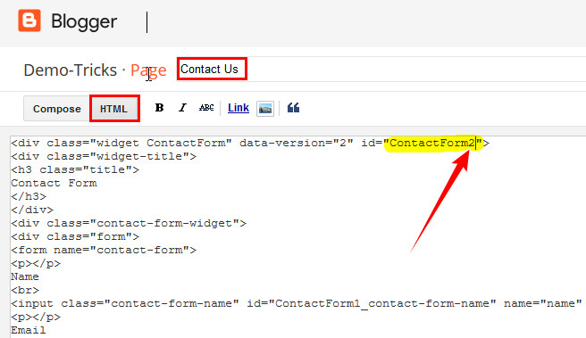 create contact page in blogger, blogger contact form page